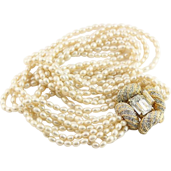 Sale Kjl Gold Colored And White Faux Pearl Seven Strand