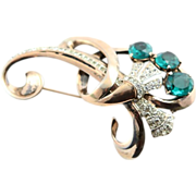 Large Sterling 1940's Emerald Paste Brooch