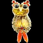 Juliana Little Citrine Colored Bird Brooch