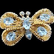 Beautiful Aqua Marine Rhinestone Austria Butterfly Brooch