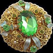 Beautiful Green Stone and Enamel West German Like Brooch