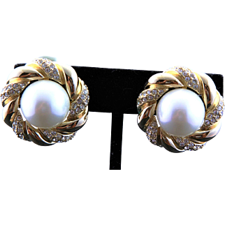 Vintage New Large Ciner Button Earrings With White Pearls & Clear Rhinestones