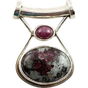 Wonderful Retired Sajen Ruby Zoisite Pendent With Sterling