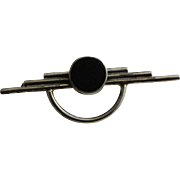 Handsome Art Deco Sterling And Onyx Brooch