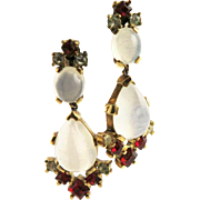 Vintage Crown Trifari Alfred Philippe Faux Moonstone Rhodium Plated Earrings