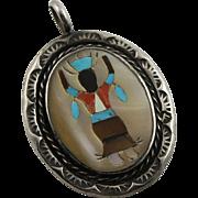 Vintage Zuni Inlay Sterling Pendent
