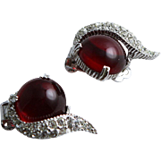 Vintage Red Stone 1960's Clip Earrings