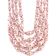 Beautiful Pink Torsade Japanese Faux Pearl Necklace and  Earrings