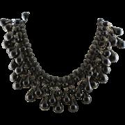 Vintage 1950's Black Lucite Dangle, Movable Necklace