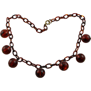 Vintage Root Beer Colored Lucite Ball Bead Necklace