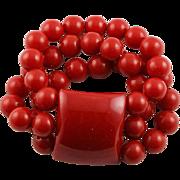 Amazing Large Red Bakelite Expandable Bracelet