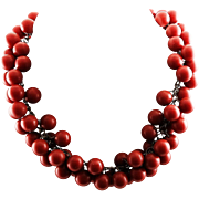 Spectacular Vintage Red Cherry Bakelite Chain Necklace