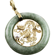 Vintage Asian Jade & 14K Gold Dragon With Freshwater Pearl Pendent