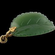 Vintage 14K Gold & Carved Jade Leaf Pendent or Charm