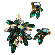 Beau Jewels Rhinestones Set With Brooch & Earrings In Shades of Green