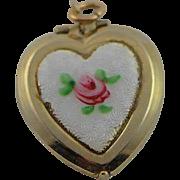 Vintage Guilloche Enamel Heart Locket Pendent