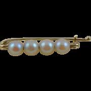 Vintage 14K Gold & Freshwater Pearl Lingerie Pin
