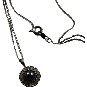 Vintage Sterling, Hematite & CZ Necklace