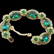 Magnificent Vintage Green Crystal Stone Kramer Bracelet