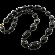 Vintage Barrel Shaped & Carved Black Bakelite Necklace