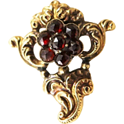 Amazing Art Nouveau Bohemian Cut Garnet & 18K Gold Brooch