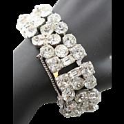 Vintage Eisenberg Ice Clear Faceted Large Rhinestone Three Row Bracelet