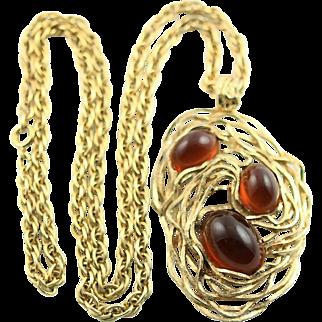 Vintage Napier Large Pendent & Gold Chain