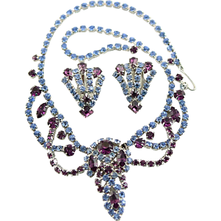 Vintage Juliana Style Blue Rhinestone Set, Necklace & Earrings