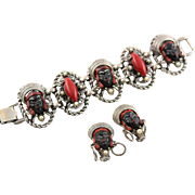 Vintage Selro-Selini Red & Black Princess Bracelet & Earrings Set