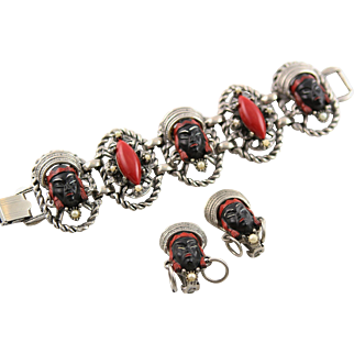 Vintage Selro-Selini Red & Black Princess Bracelet & Earrings Set