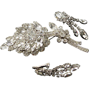 Stunning Vintage Clear Rhinestone Extra Large Sparkly Brooch & Matching Earrings