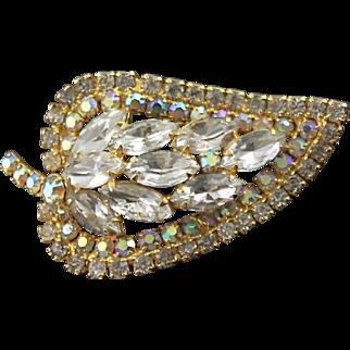 Wonderful Vintage Leaf Shaped Brooch & Matching Earrings