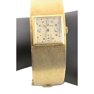 Vintage Longines 14 K Gold Bangle 1950's Watch With Diamonds