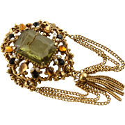 Vintage Florenza 1950's Gold Peridot Stone Brooch