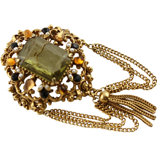 Vintage Florenza 1950's Gold Peridot Stone Brooch