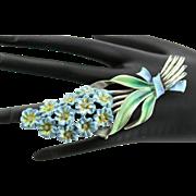 Vintage Coro Enamel Blue Flower Brooch