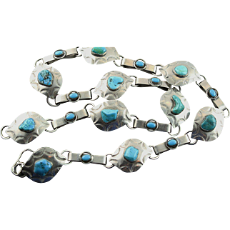 Vintage Sterling & Turquoise Chain Belt.