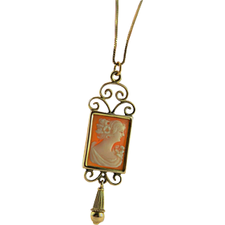 Phenomenal Victorian Lavaliere Cameo 14K Gold Necklace