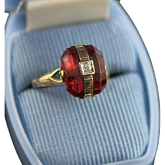 Antique Victorian Ruby Colored Stone & 10K Gold Ring