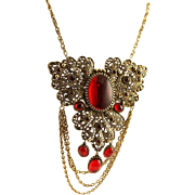 Vintage Magnificent Napier Red & Antique Gold Necklace