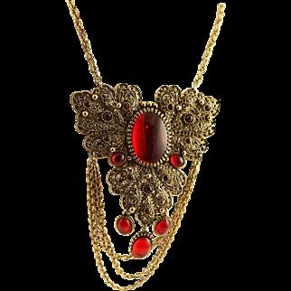 Vintage Magnificent Napier Red & Antique Gold Necklace
