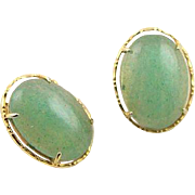Vintage Jade Jadeite Gold Clip Earrings