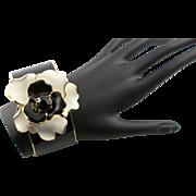 Vintage Kenneth Jay Lane Black Enamel Flower Bracelet