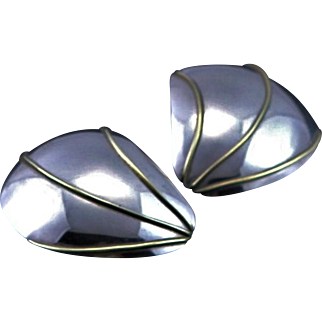 Sterling Silver & Gold Signed Large Pierced Earrings