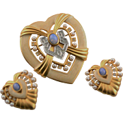 Elizabeth Taylor's Fantastic Heart Of Hollywood Collection Pin & Earrings Set