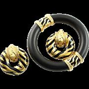 Super Elizabeth Taylor Zebra Set Designed For Avon 1990's