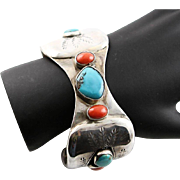 Vintage Native American Handmade Sterling, Turquoise & Coral Cuff Bracelet