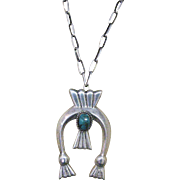 Stunning Vintage Native American Cast Naja, Kingman Turquoise Pendent Sterling Necklace