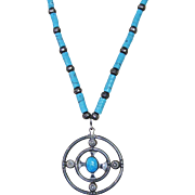 Grand Handmade Native American Circular Sterling & Turquoise Pendent Bench Round Sterling Bead Necklace