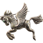 Marked Vintage 1940's Sterling Flying Horse With Green Turquoise Stone Eye Brooch
